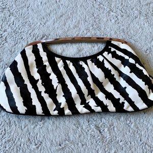 Express Zebra Printed Magnetic Closure Clutch